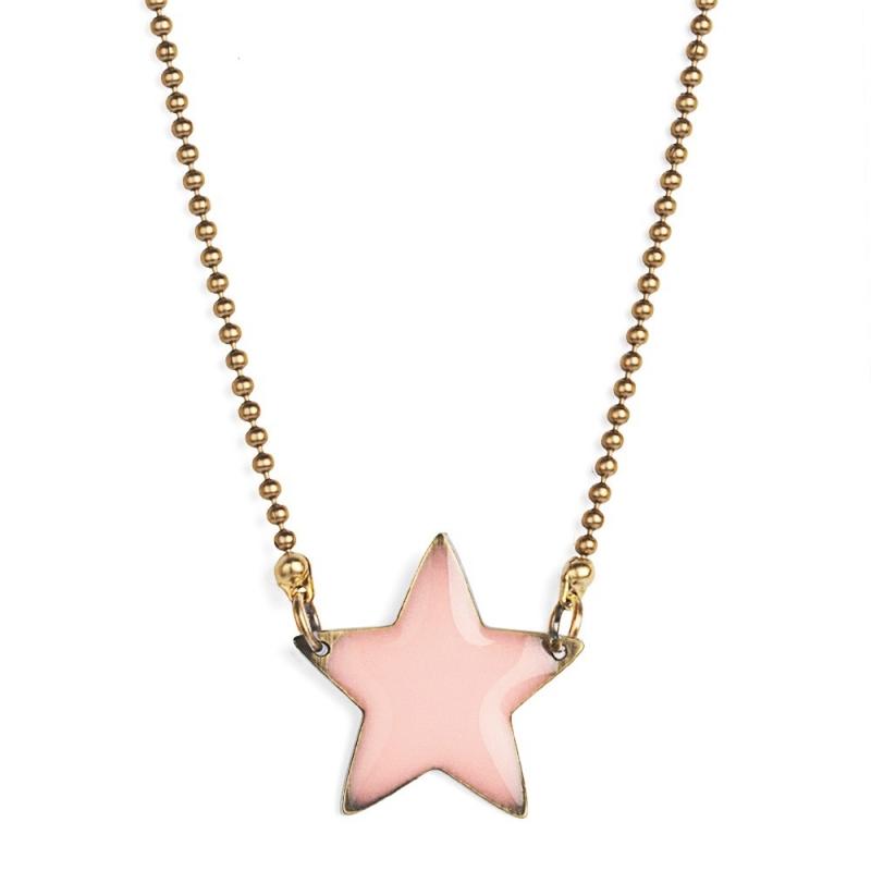 Collier Etoile Emaillée Rose Pâle - Bijoux Puella - Boutique Les inutiles