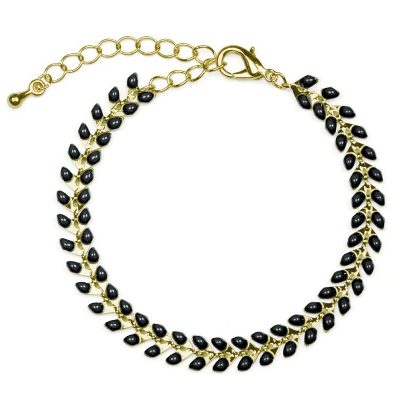 Bracelet Épis doré émaillé de noir - boutique Les inutiles