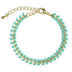 Bracelet Épis doré émaillé de bleu turquoise - boutique Les inutiles