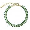 Bracelet Épis doré émaillé de vert sapin - boutique Les inutiles