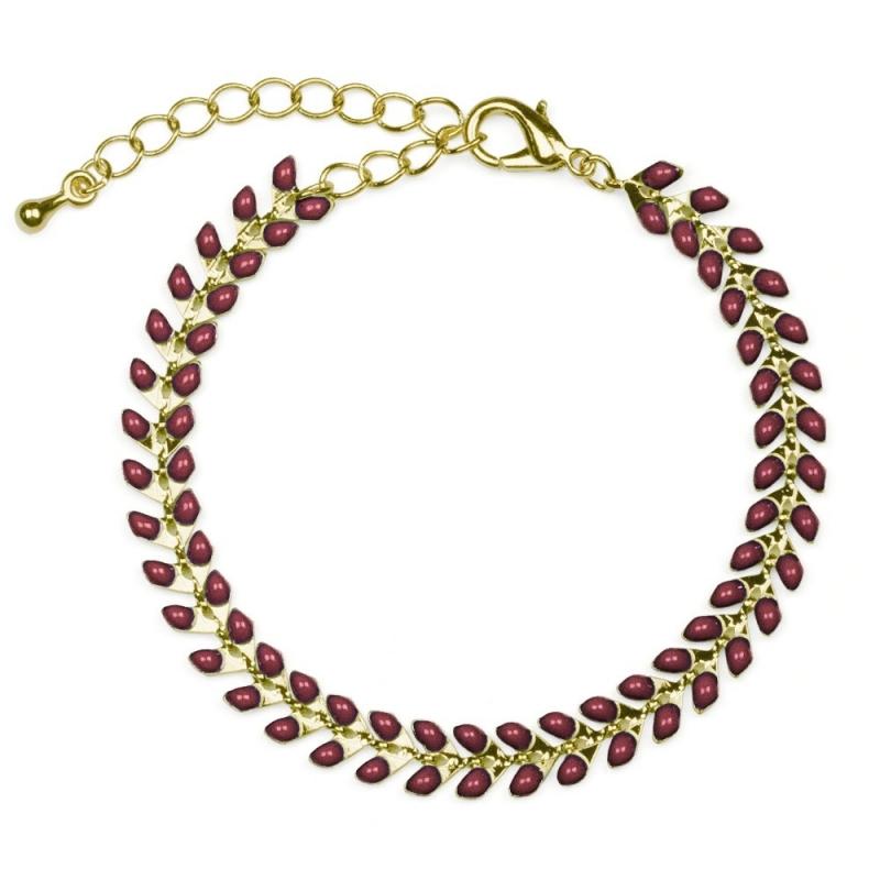 Bracelet Épis doré émaillé de maron acajou - boutique Les inutiles