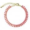 Bracelet Épis doré émaillé de orange corail - boutique Les inutiles