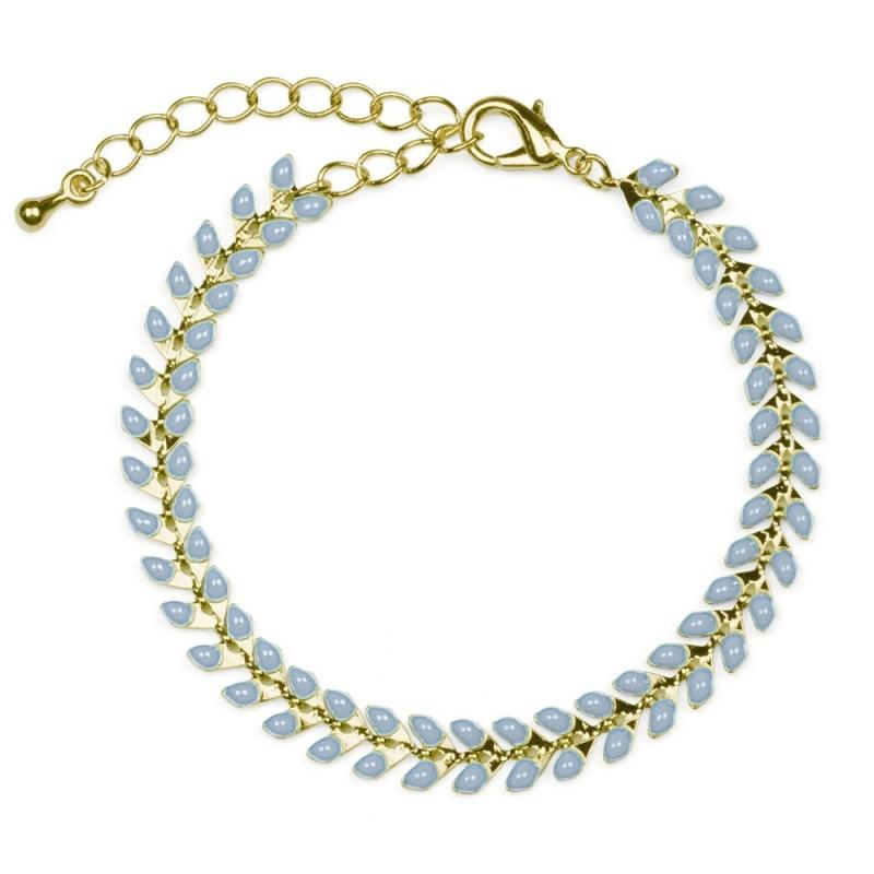 Bracelet Épis doré émaillé de gris bleu - boutique Les inutiles