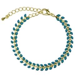 Bracelet Épis doré émaillé de bleu canard - boutique Les inutiles