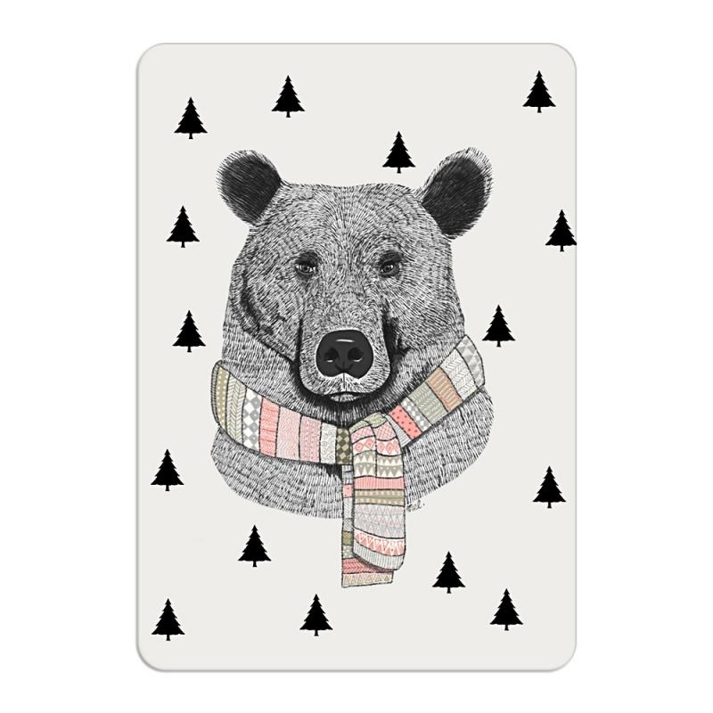 Carte Postale Ours en Echarpe - Format A6 ou A5 Illustré par Minimel - Boutique Les inutiles