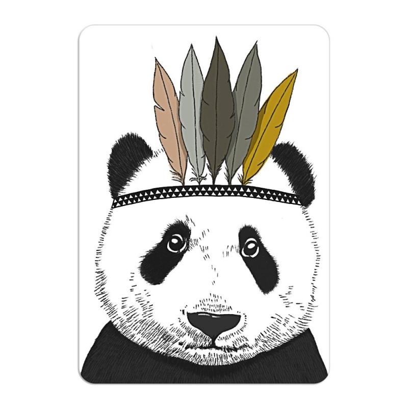 Carte Postale Panda Sioux - Format A6 ou A5 Illustré par Minimel - Boutique Les inutiles