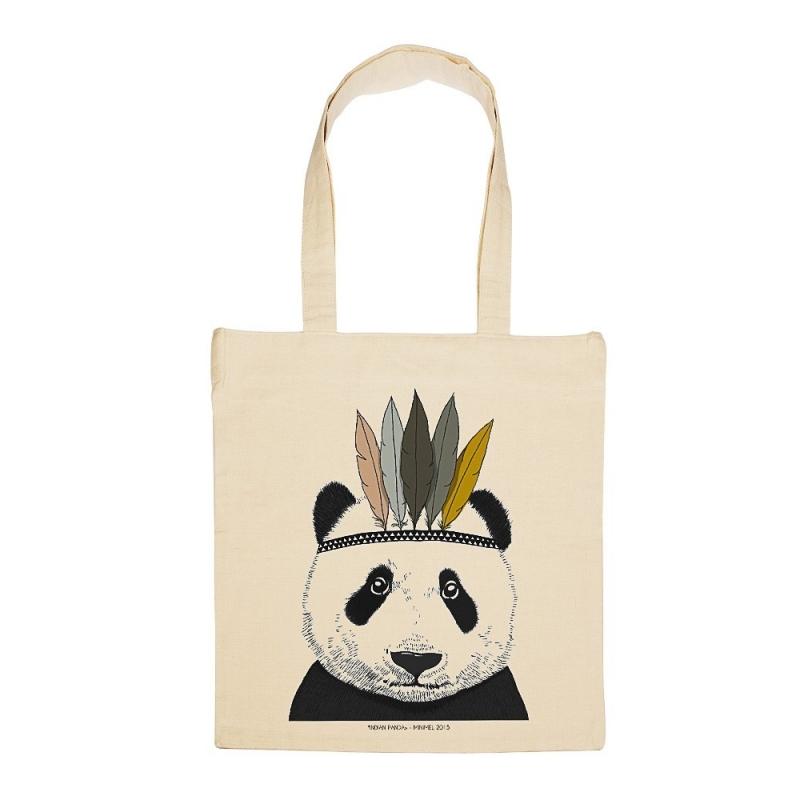 Tote Bag Panda Sioux - Illustré par Minimel - Boutique Les inutiles