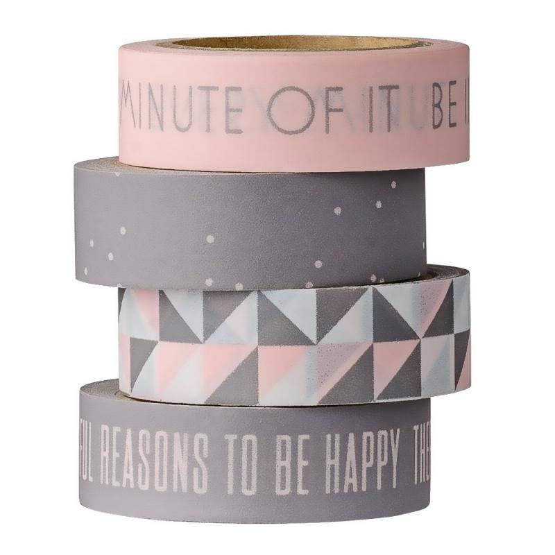 Set de quatre Masking Tape Rose et Gris - Bloomingville - Boutique Les inutiles