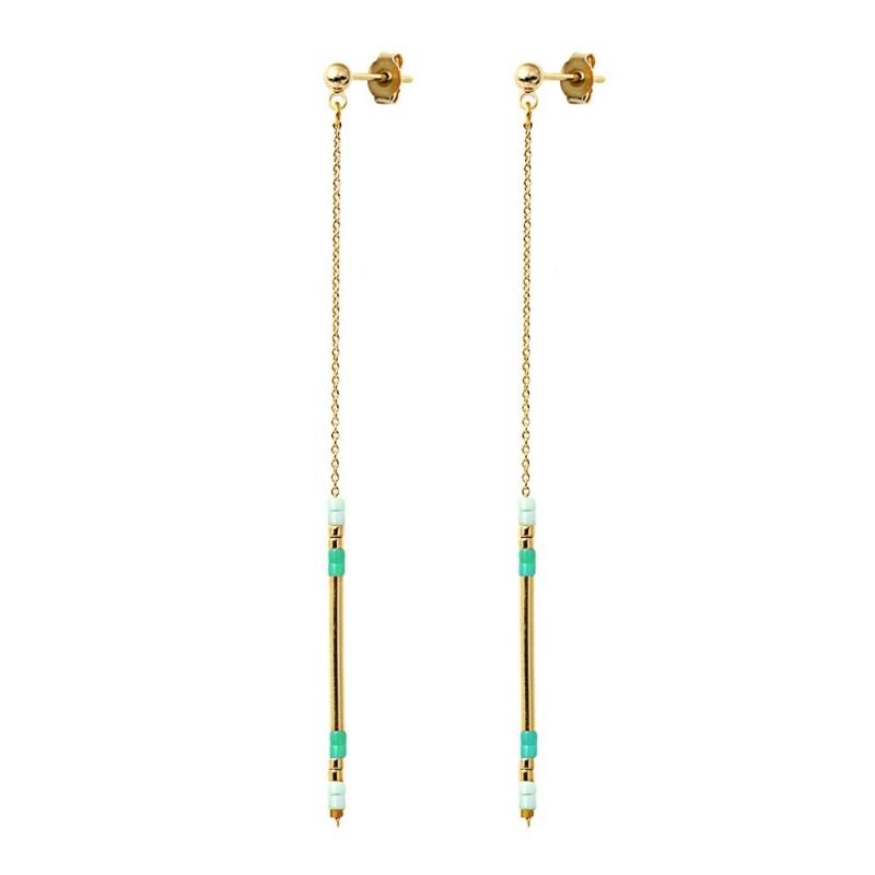 Boucles d'oreilles Alexandra Mint - Bijoux Caroline Najman - Boutique Les inutiles