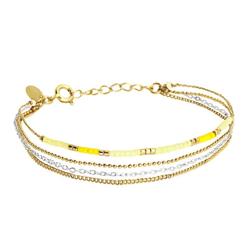 Bracelet 4 Rangs Alexandra Mimosa - Bijoux Caroline Najman - Boutique Les inutiles