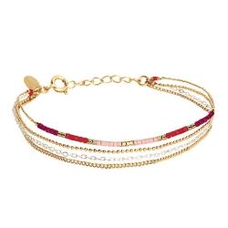 Bracelet Alexandra 4 rangs - Framboise