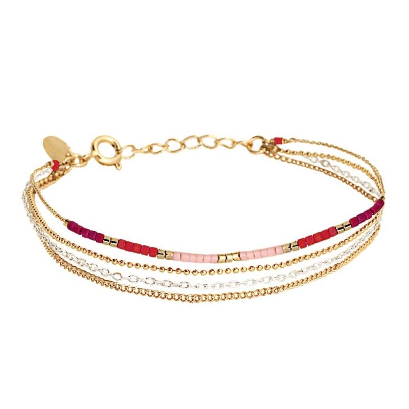 Bracelet 4 Rangs Alexandra Framboise - Bijoux Caroline Najman - Boutique Les inutiles