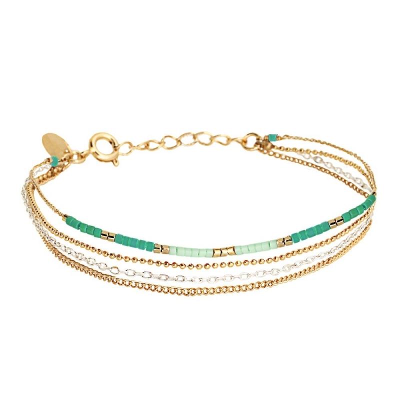 Bracelet 4 Rangs Alexandra Mint - Bijoux Caroline Najman - Boutique Les inutiles