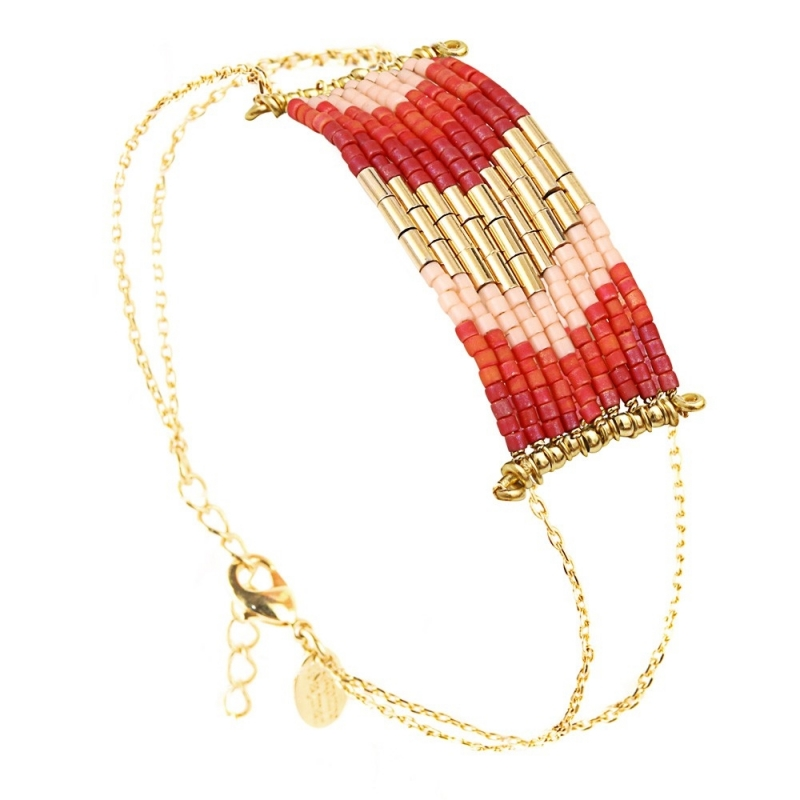 Grand Bracelet Folk Framboise - Bijoux Caroline Najman - Boutique Les inutiles