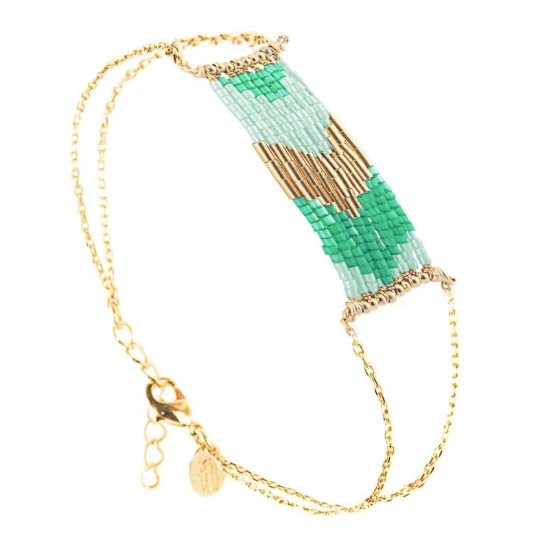 Grand Bracelet Folk Mint - Bijoux Caroline Najman - Boutique Les inutiles