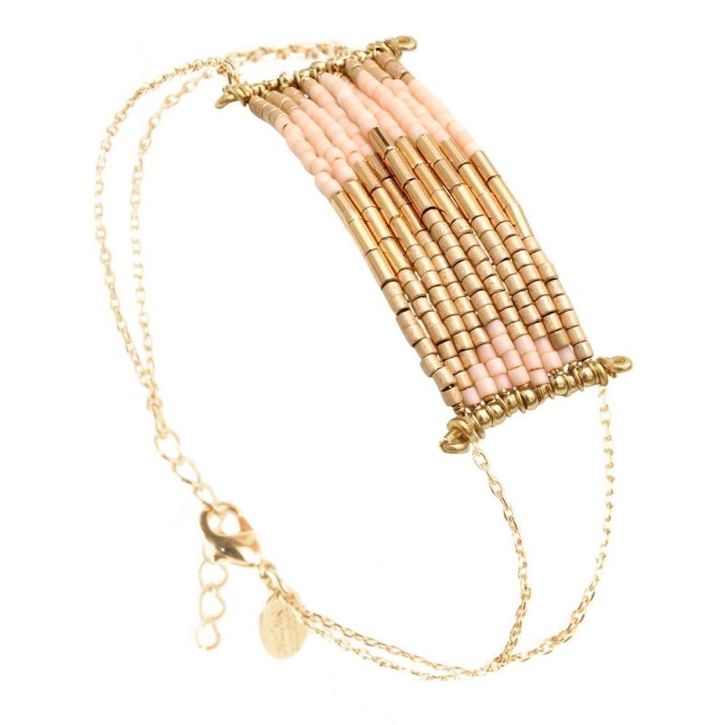 Grand Bracelet Folk Champagne - Bijoux Caroline Najman - Boutique Les inutiles