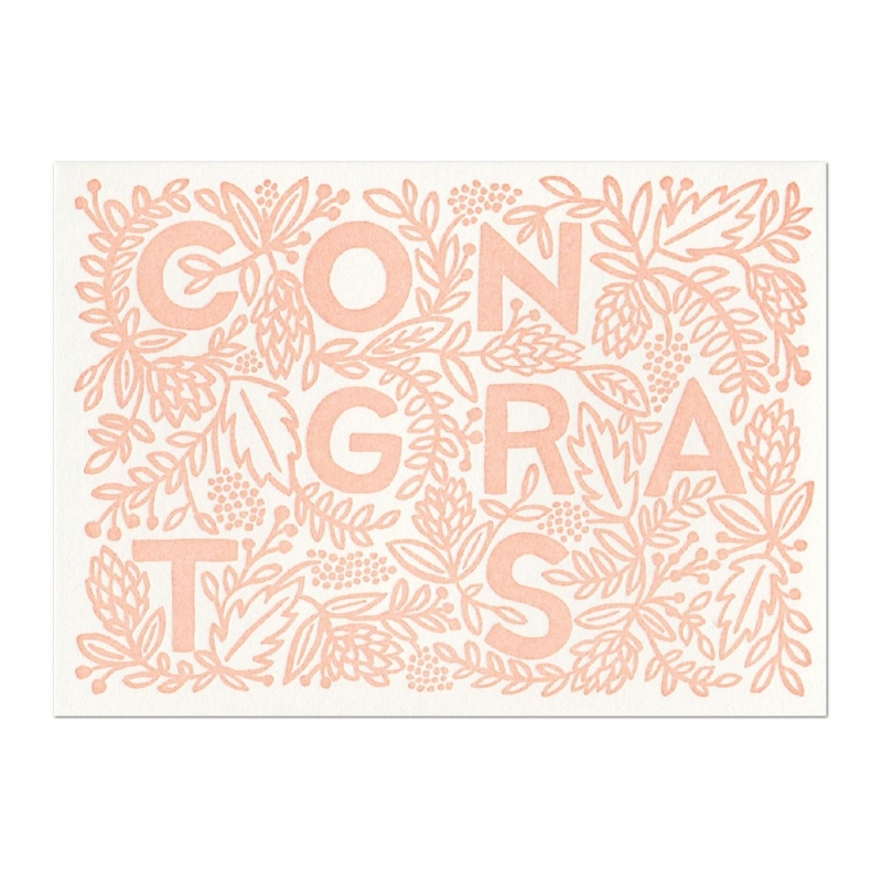 Carte Postale Congrats rose Saumoné - Rifle Paper Co. - Boutique Les inutiles
