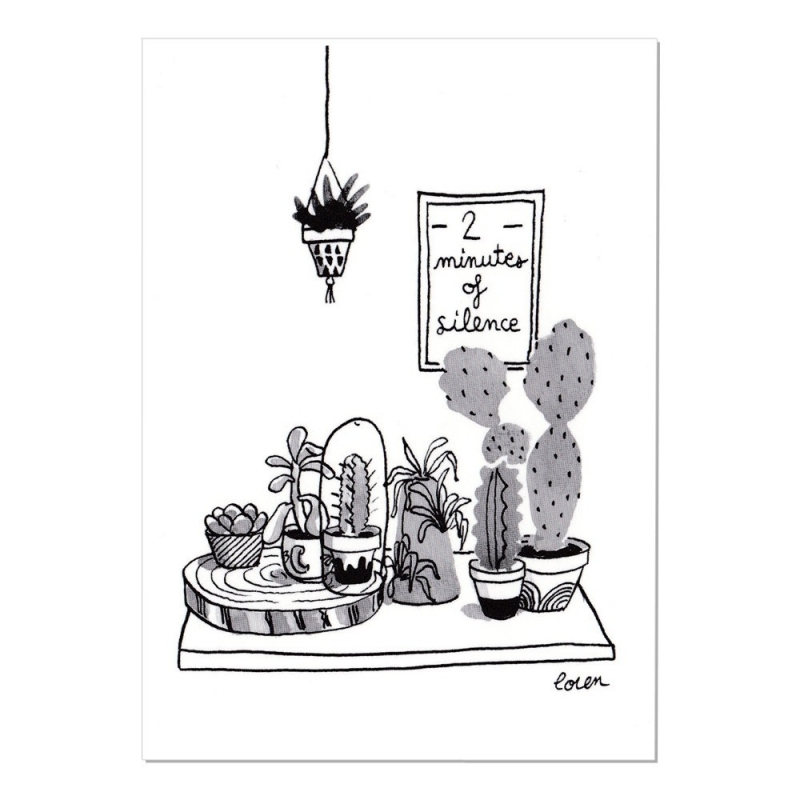 Carte Postale Cactus - 2 minutes of silence - Collection Cactus Mania by Loren - Boutique Les inutiles