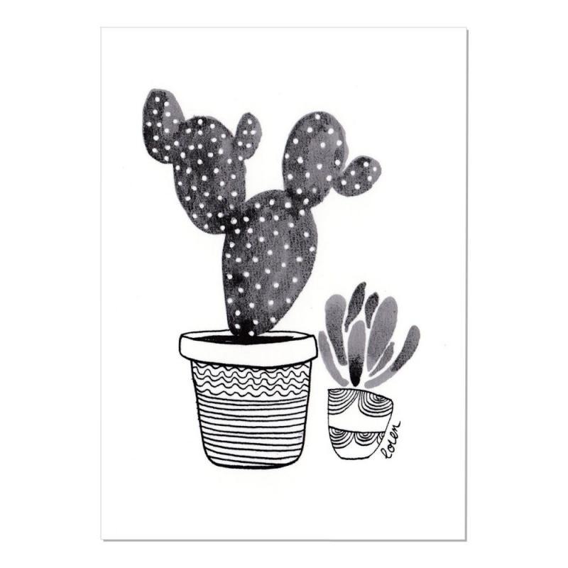 Carte Postale Cactus - Duo de Cactus - Collection Cactus Mania by Loren - Boutique Les inutiles