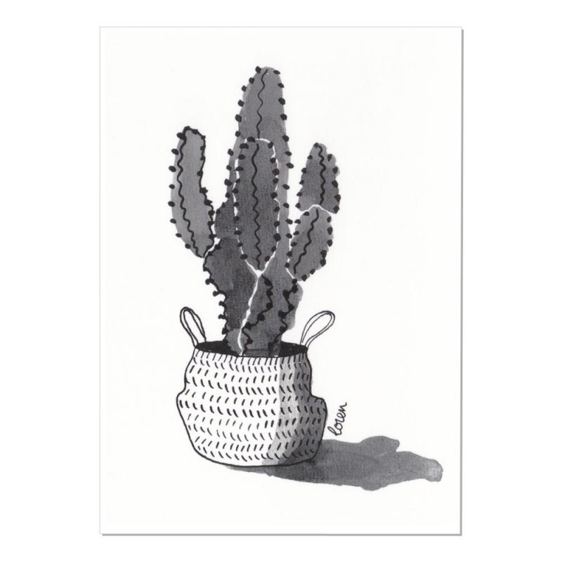 Carte Postale Cactus - Cactus et Panier- Collection Cactus Mania by Loren - Boutique Les inutiles