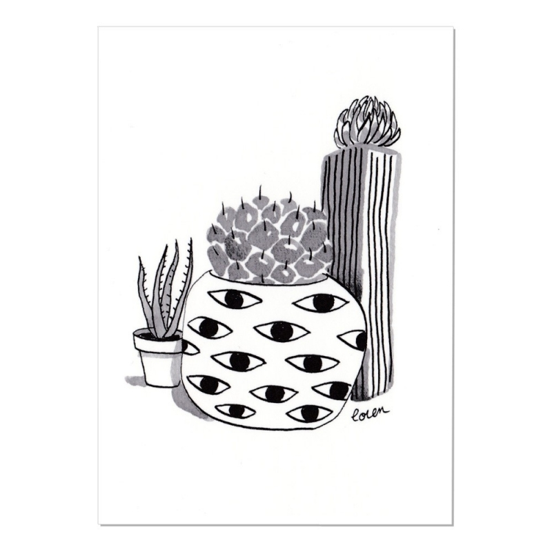 Carte Postale Cactus - Cactus Eyes- Collection Cactus Mania by Loren - Boutique Les inutiles