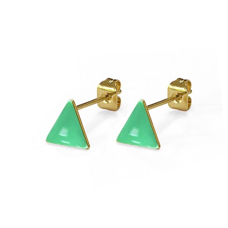Boucles d'oreilles - Triangles Mint - Les Curiosités d'Elixir - Boutique Les inutiles