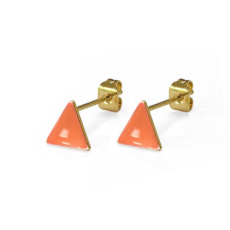 Boucles d'oreilles - Triangles Corail - Les Curiosités d'Elixir - Boutique Les inutiles