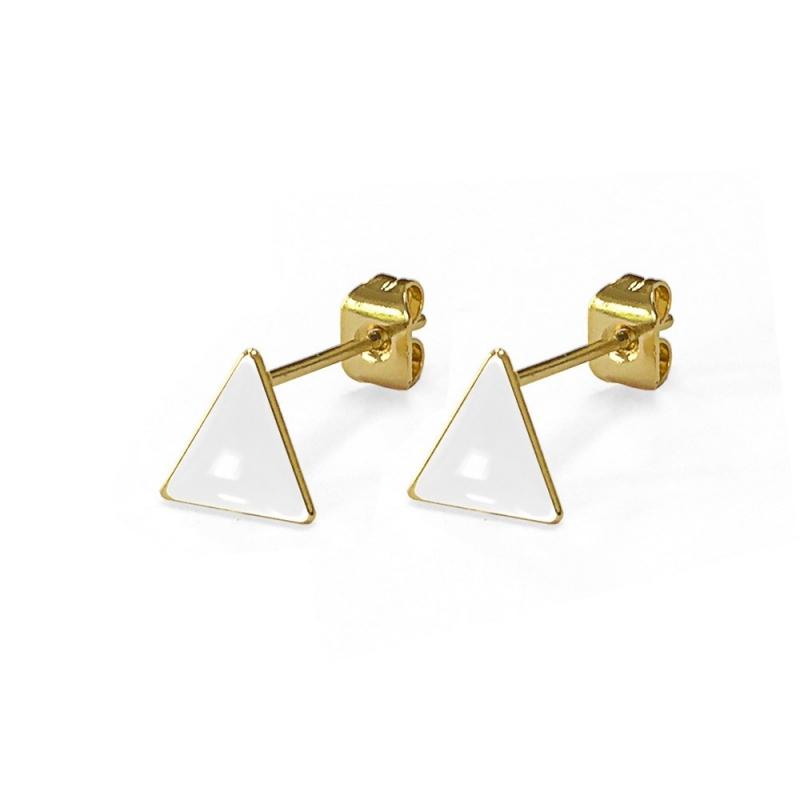 Boucles d'oreilles - Triangles Blanc - Les Curiosités d'Elixir - Boutique Les inutiles