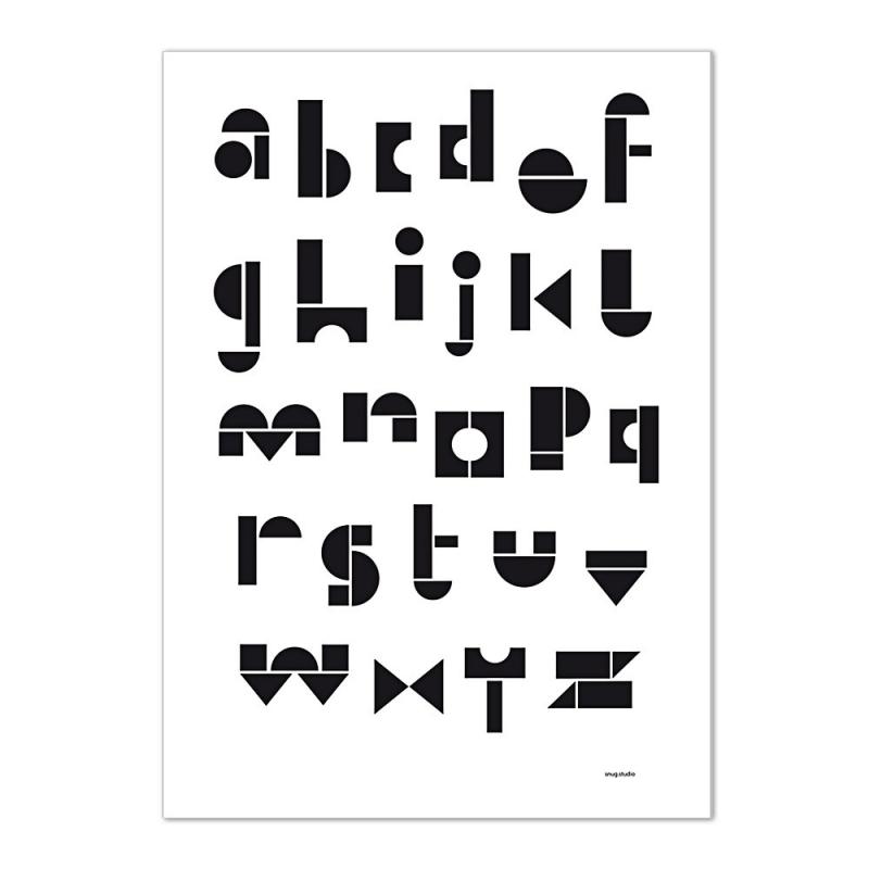 Carte Postale Abécédaire - Noir & Blanc -  Snug ABC Card - Snug Studio - Boutique Les inutiles