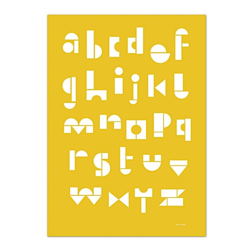 Carte Postale Abécédaire - Jaune Moutarde -  Snug ABC Card - Snug Studio - Boutique Les inutiles