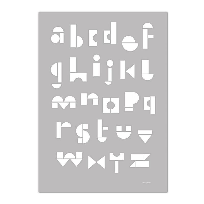 Carte Postale Abécédaire - Gris Souris -  Snug ABC Card - Snug Studio - Boutique Les inutiles