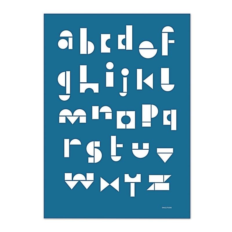 Carte Postale Abécédaire - Bleu Marine -  Snug ABC Card - Snug Studio - Boutique Les inutiles