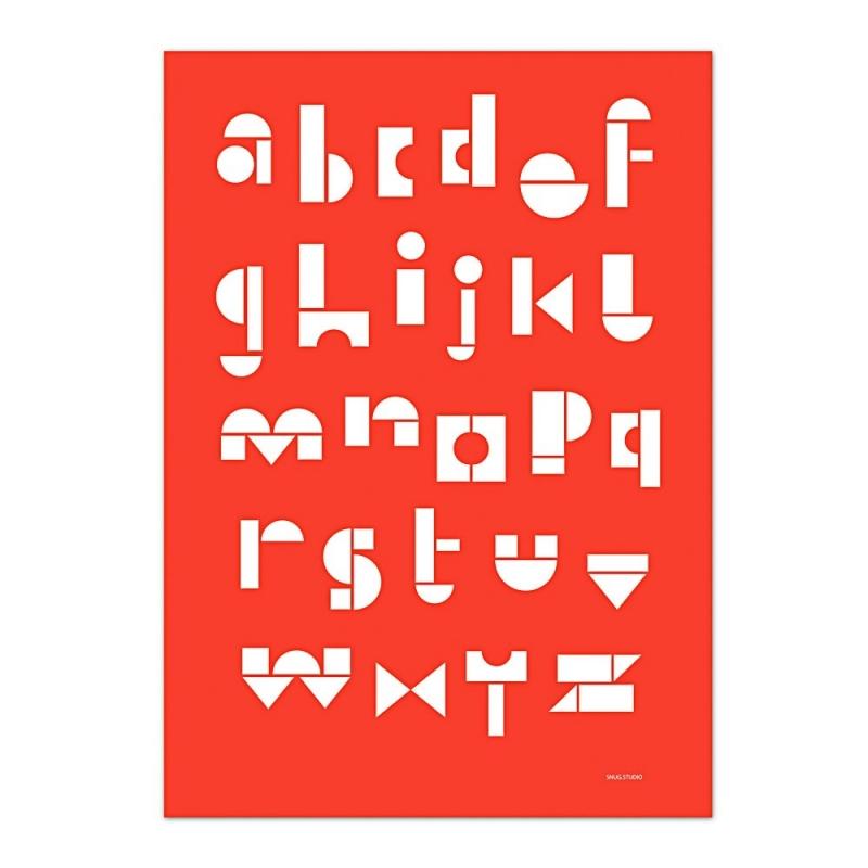 Carte Postale Abécédaire - Rouge Tomate -  Snug ABC Card - Snug Studio - Boutique Les inutiles