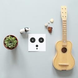 Carte postale panda - minimalist bears - illustration noir & blanc - boutique Les inutiles