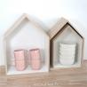 Trio étagères Maison en bois et blanc • house bloomingville • déco rangement cuisine • boite épuée boutique Lesinutiles.fr