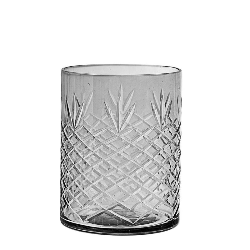 Photophore en verre fumé et ciselé - Bloomingville - Boutique Les inutiles