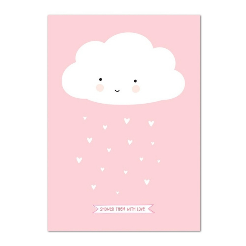 Poster Happy Cloud - Affiche Nuage Rose - A Little Lovely Company - Boutique Les inutiles