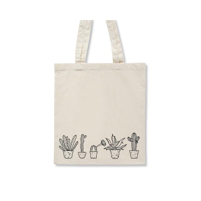 Tote Bag Cactus - Sac Botanic - Illustré par Audrey Jeanne - Boutique Les inutiles