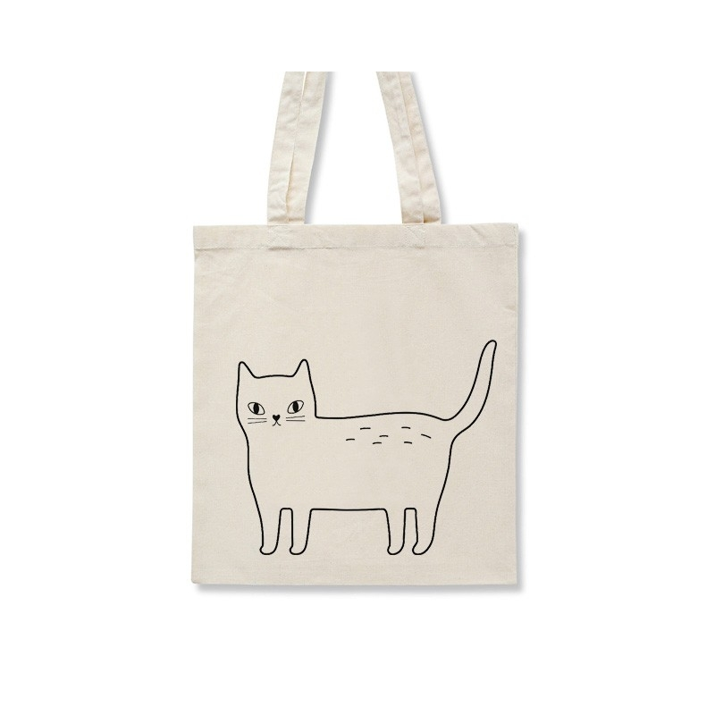 Tote Bag Kitty - Sac Chat - Illustré par Audrey Jeanne - Boutique Les inutiles