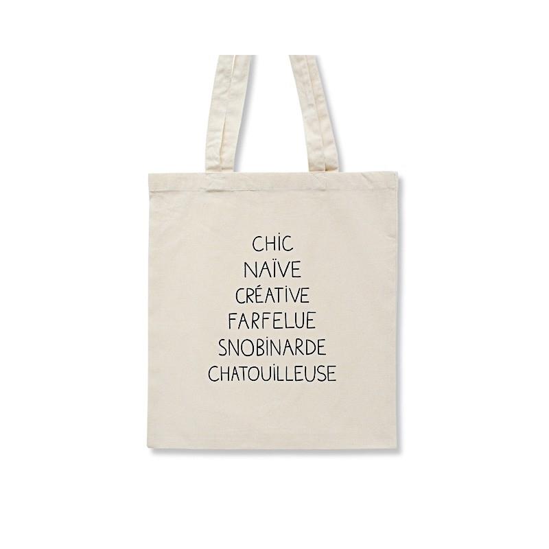 Tote Bag Chic - Sac Naïve, Snorbinarde - Illustré par Audrey Jeanne - Boutique Les inutiles