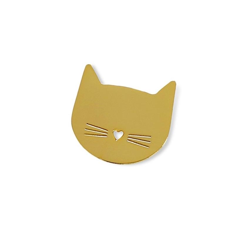 Pin's Chat - Broche Petit Coeur - Illustré par Audrey Jeanne - Boutique Les inutiles