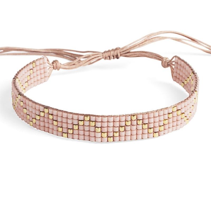Bracelet en perles Miyuki Rose & Or - Bracelet Plune - Boutique Les inutiles