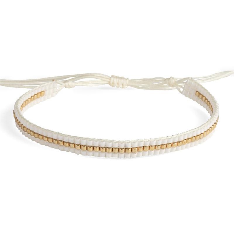 Bracelet en perles Miyuki Blanc & Or - Bracelet Plune - Boutique Les inutiles