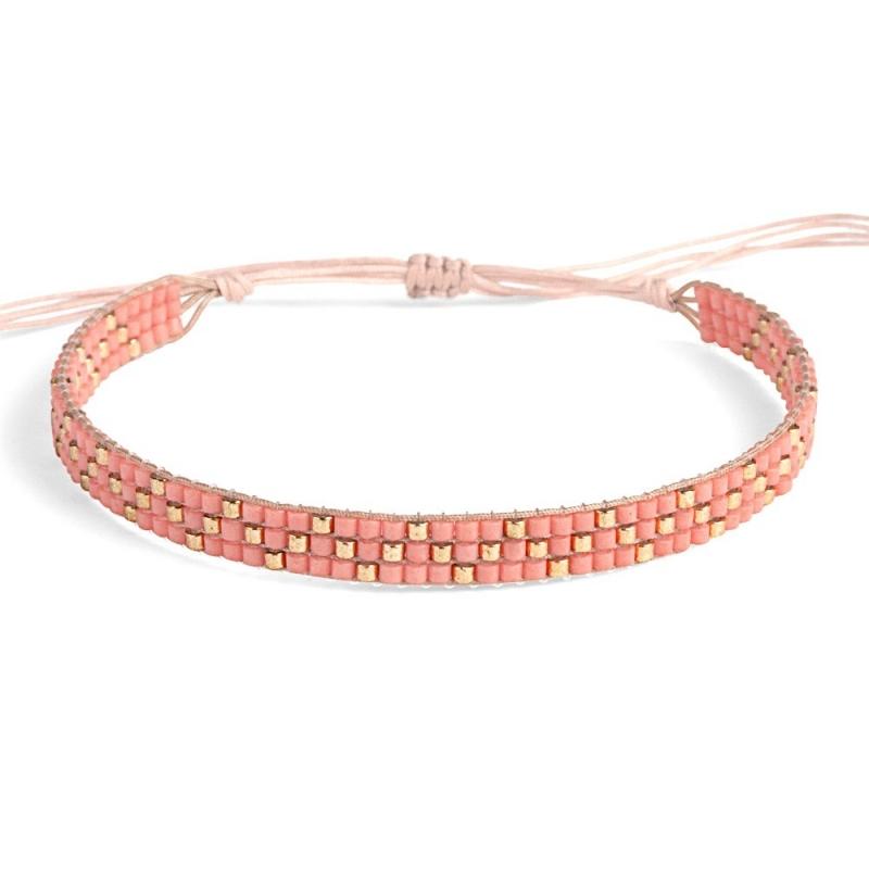 Bracelet en perles Miyuki Corail & Or - Bracelet Plune - Boutique Les inutiles