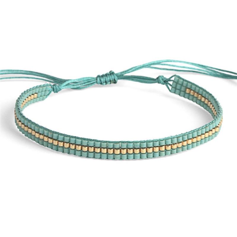 Bracelet en perles Miyuki Turquoise \u0026 Or , Bracelet Plune , Boutique Les  inutiles
