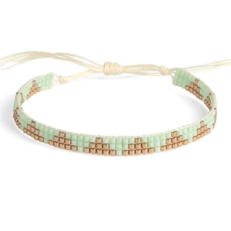 Bracelet en perles Miyuki Mint & Or - Bracelet Plune - Boutique Les inutiles