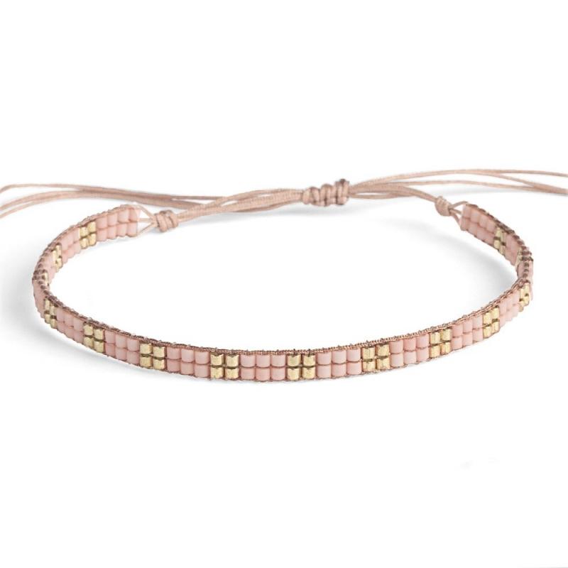 Bracelet en perles Miyuki Nude & Or - Bracelet Plune - Boutique Les inutiles