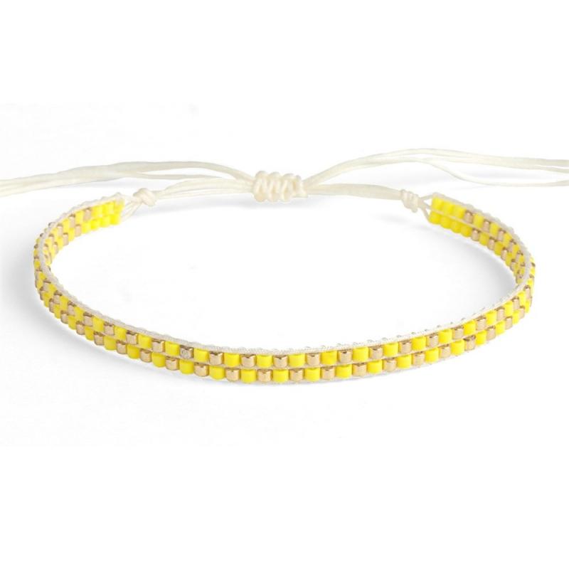Bracelet en perles Miyuki Citron & Or - Bracelet Plune - Boutique Les inutiles