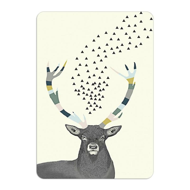 Carte Postale Esprit de la Forêt - Format A6 ou A5 Illustré d'un cerf par Minimel - Boutique Les inutiles