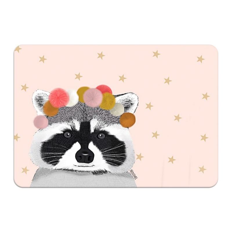 Carte Postale Raccoon et Pompons - Format A6 ou A5 Illustré par Minimel - Boutique Les inutiles